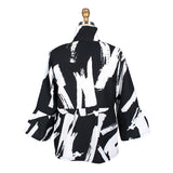 Damee Brushstroke Button Front Short Jacket  in Black/White - 4620-BLK