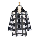 Damee NYC Checkered Button Front Jacket - 4621-BLK