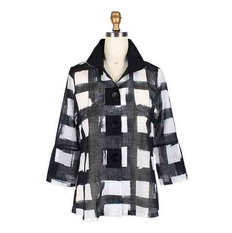 Damee Checkered Print Semi-Sheer Jacket in Black/White - 4621-BLK