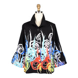 Damee Abstract Swirl Button Front Jacket in Multi/Black - 4623-BLK
