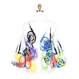 Damee Swirl & Twirl Button Front Jacket in Multi/White - 4623-WHT - Size S Only