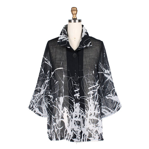Damee Splattered-Abstract-Print Light Chiffon Jacket in Black/White - 4635-BW