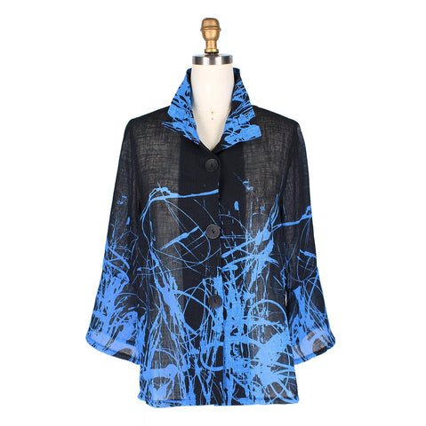 Damee Splattered-Abstract-Print Light Linen Jacket in Blue/Multi - 4635-BLU