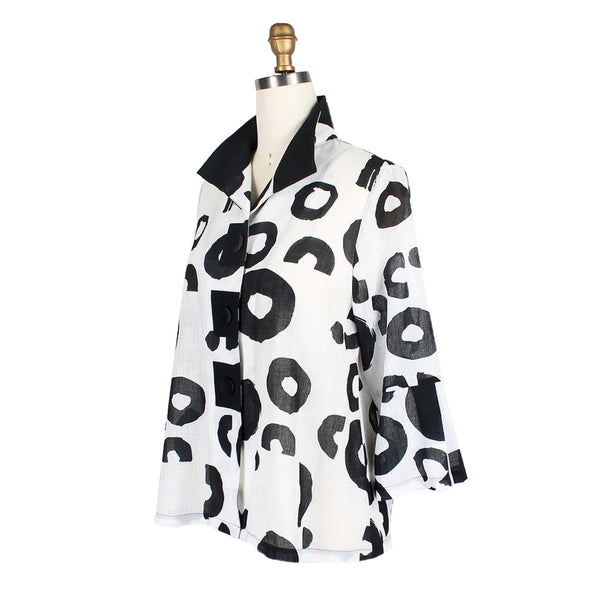 Damee Abstract-Print Jacket in White/Black - 4684-WHT
