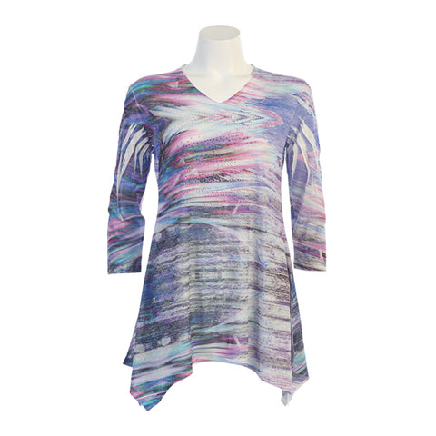 "Jess & Jane ""Sapphire""Lightweight V Neck Burnout Tunic in Multicolor - 47-1070"
