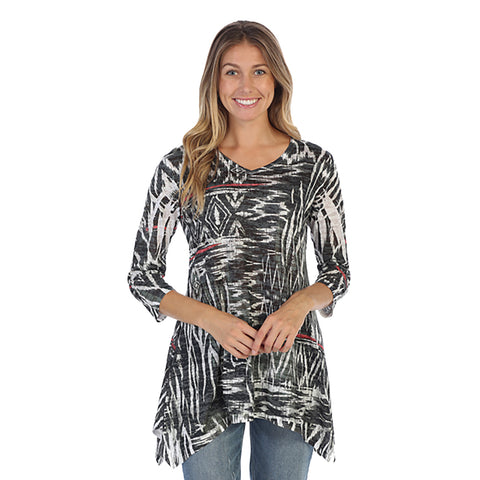 "Just In! J & J ""Navajo Art"" V-Neck Burnout Tunic - 47-1120"