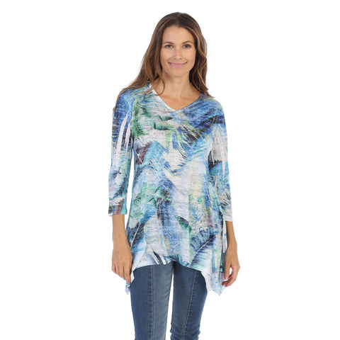 "Jess & Jane ""Bosque"" V-Neck Burnout Tunic in Blue Multi - 47-1180 - Sizes L & 1X Only"