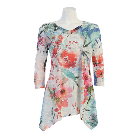"Jess & Jane ""Joyous"" V-Neck Burnout Floral Print Tunic "" 47-1332"