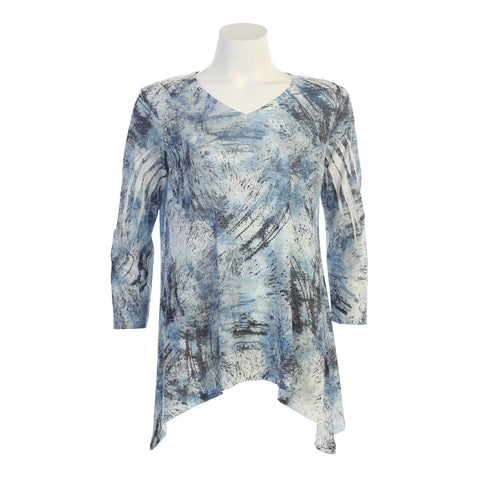 "Jess & Jane ""Oceania"" Burnout Abstract Print V-Neck Tunic - 48-1069"