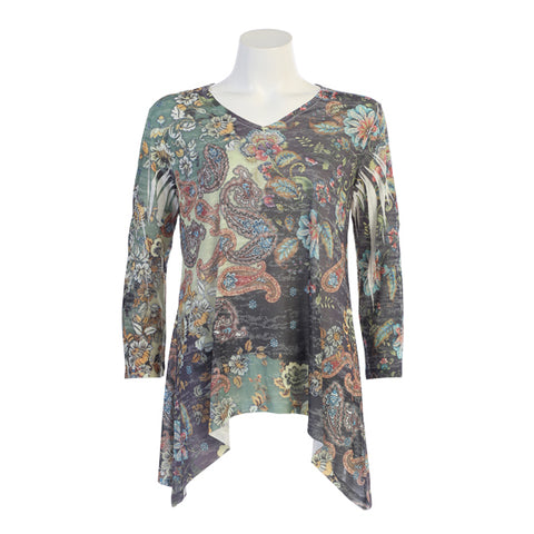 "Jess & Jane ""Fairy Tale"" Paisley Print Burnout Sublimation Tunic - 48-1147"