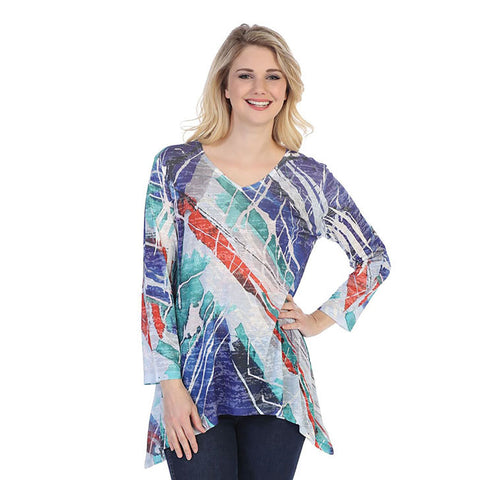 "Jess & Jane ""Kairos""  V-Neck Burnout Tunic Top  - 48-1221"