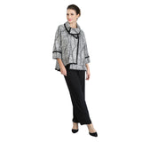 IC Collection Mixed Stripe High-Low Jacket in Black/White - 2148J - Size M Only