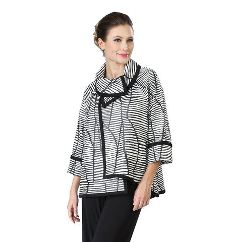 IC Collection Mixed Stripe High-Low Jacket in Black/White - 2148J -BK - Sizes S - L Only