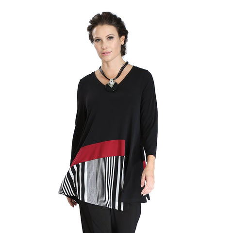 IC Collection Angle Tunic in Black/White/Red - 3371T-BK