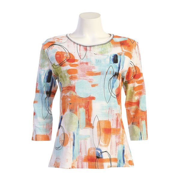 "Jess & Jane ""Vienna"" Abstract Floral Print Top - 14-1567"
