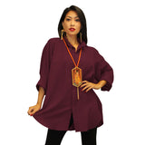 Dilemma Fashions Solid Big Shirt in Eggplant - GB 5001-EPLT