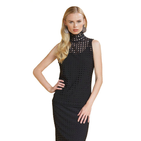 Clara Sunwoo Sleeveless Perforated Sleeveless Top in Black TKMI - Size L Only