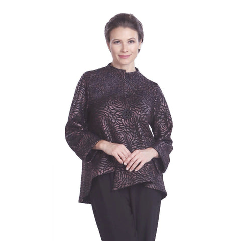 IC Collection Jacquard  Jacket in Wine - 5120J-WNE