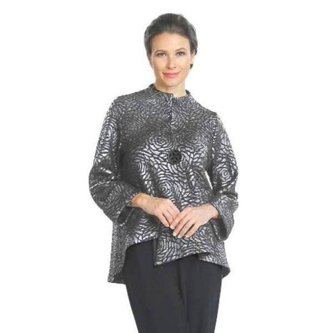 IC Collection Floral Jacquard Asymmetric Jacket in Silver- 5120J-SLV - Size M Only