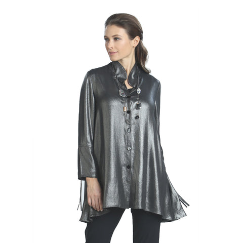 IC Collection Shimmer Blouse in Silver - 5126B-SLV