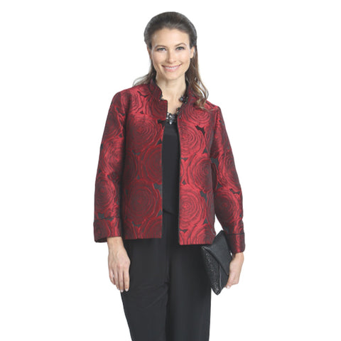 IC Collection Open-Front Jacquard Short Jacket in Red 5128J-RD