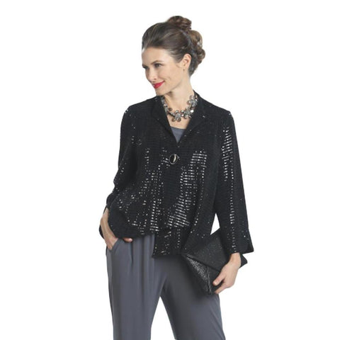 IC Collection Sequin Asymmetric Jacket in Black- 5138J-BLK - Size XXL Only