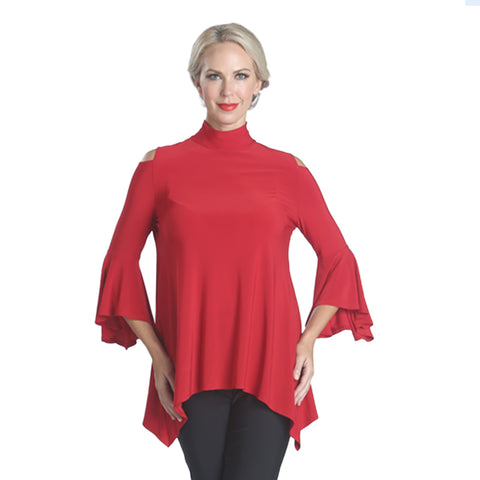 IC CollectionTrumpet Sleeve Cold Shoulder Tunic in Red - 5144T-RD - Size XL Only