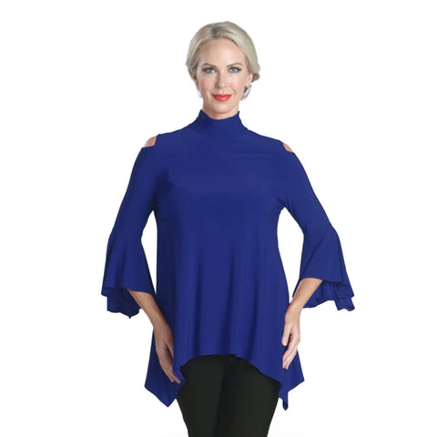 IC Collection  Bell-Sleeve Tunic with Cutout Shoulders in Royal Blue - 5144T-BL