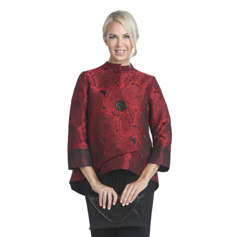 IC Collection Jacquard Asymmetric Jacket in Red - 5145J-RED