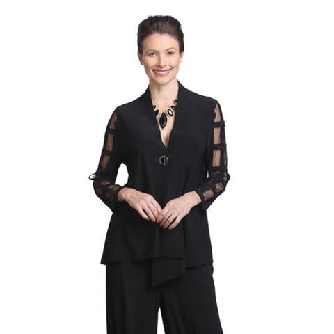 IC Collection Mesh Ladder Sleeve Asymmetric Jacket in Black - 5147J-BLK - Size XXL Only