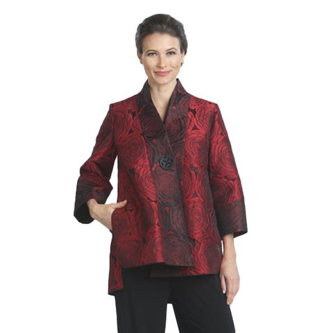 IC Collection Floral Jacquard Kimono Jacket in Red  - 5149J-RED - Sizes S & M Only