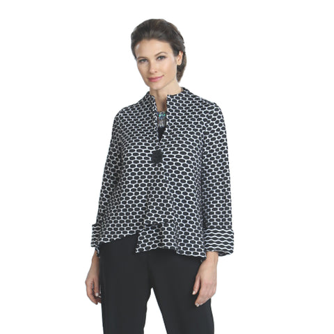 IC Collection Honeycomb Asymmetric Jacket in Black/White - 5166J-BLK - Size S Only