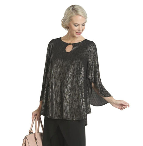 IC Collection Butterfly Sleeve Top in Gold/Black - 5169T-GLD