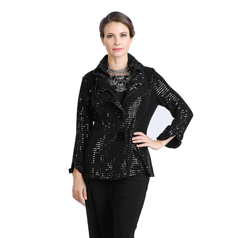 IC Collection Shimmer Jacket in Black - 5174J-BLK