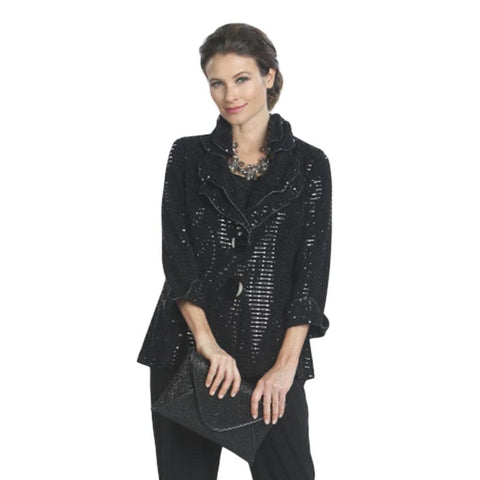 IC Collection Shimmer Jacket in Black - 5174J-BLK - Sizes S - L Only