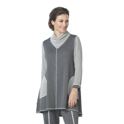 IC Collection Cowl Neck High-Low Tunic in Gray - 5186T-GRY - Sizes S, M & L