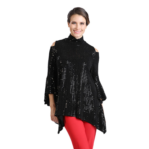 IC Collection Trumpet Sleeve Sequins Top in Black - 5195T-BLK - Sizes S, M & L Only