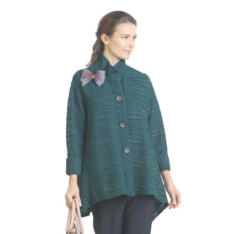 IC Collection Button Front High-Low Jacket in Green - 5196J-GRN - Sizes M & L Only