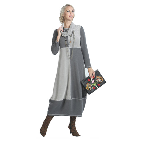 IC Collection Soft Knit Dress in Gray - 5198D-GRY