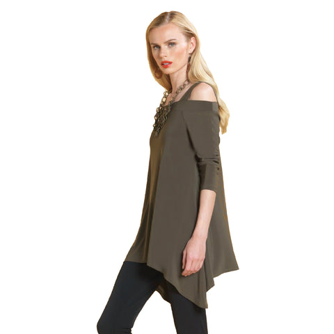 Clara Sunwoo Cold Shoulder Tunic in Olive - T101-OLV - Size XS Only