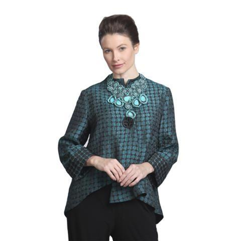 IC Collection Two Tone Asymmetric Jacket in Green - 5281J-GRN