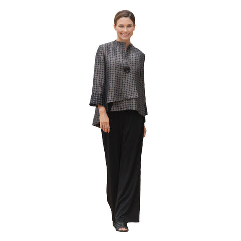 IC Collection Dot Print Asymmetric Jacket in Taupe - 5281J-TP - Sizes M & XXL Only