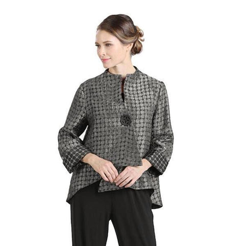 IC Collection Dot Print Asymmetric Jacket in Taupe - 5281J-TP