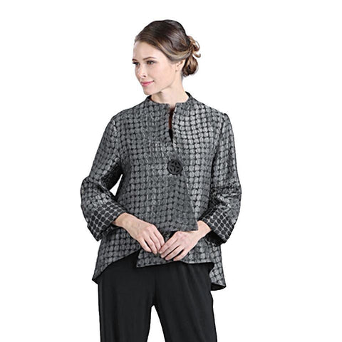IC Collection Dot Print Asymmetric Jacket in Grey/Black - 5281J-GRY - Size L & XXL Only