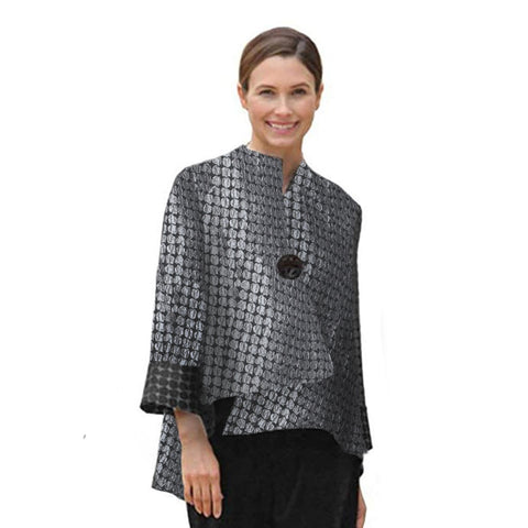 IC Collection Jacquard Asymmetric Jacket in Grey/Black - 5281J-GRY - Sizes M - XXL