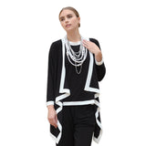 IC Collection Cardigan Twin Set in Black and White - 5283JT-BLK