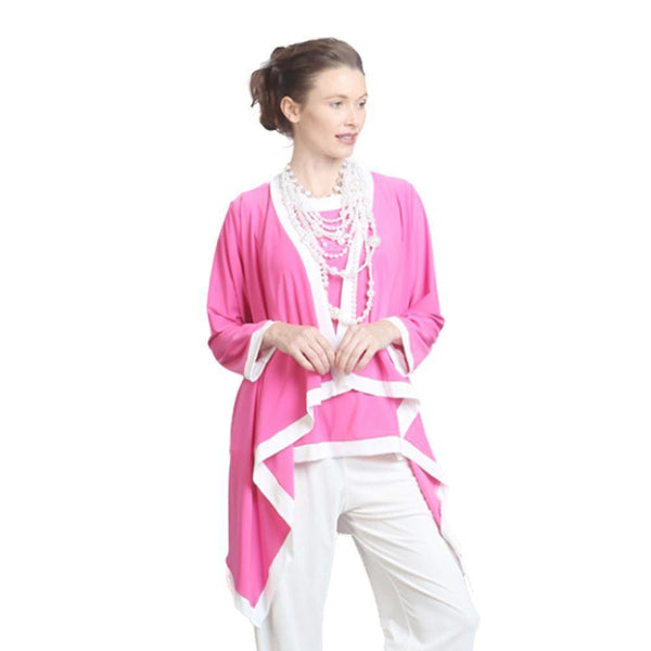 IC Collection Cardigan Twin Set in Pink & White - 5283JT-PNK - Size S Only