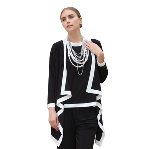 IC Collection Cardigan Twin Set in Black and White - 5283JT-BLK - Size S Only