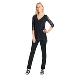 Clara Sunwoo Side Slit V-Neck Tunic with Ruched Sleeve Detail in Black - T14-BLK