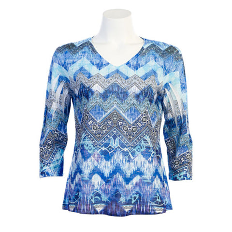 "Jess & Jane ""Indigo"" V-Neck Burnout Lightweight Top in Blue Multi - 45-922 - Sizes 1X & 3X Only"